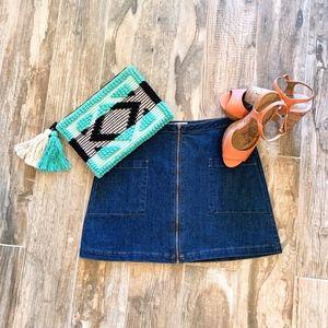 Refuge Zip Up Jean high Waist Skirt